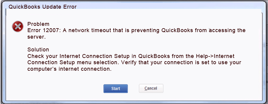 quickbooks 2009 update error 12007