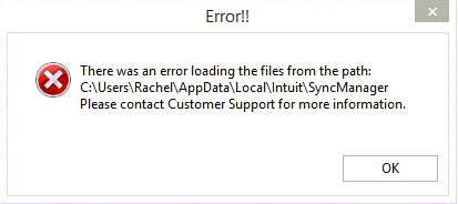 quickbooks error loading sync manager