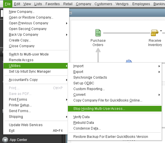 QuickBooks web connector application requested to abort error