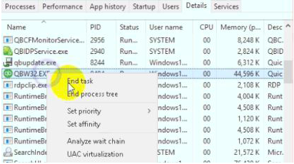 methods to solve qbw32.exe error end process task manager